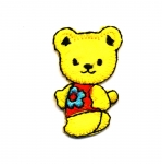 Triigitav Aplikatsioon; Mõmmi lillelise pluusiga / Embroidered Iron-On Patch; Teddy Bear with Flower Blouse / 4 x 2,5cm