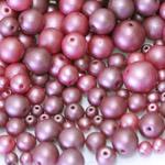 Pärlisegu roosakaslillades toonides ümaratest läbipaistmatutest pärlitest 6-12mm, 100/50g pakk