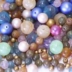Pärlisegu erivärvilistest ümaratest pärlitest 6-12mm, 100/50g pakk