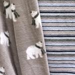 Ühelt poolt jääkarudega, teiselt poolt triibuline, pehme, sametine fliis, jaquard fleece double face, 145cm, KC4009