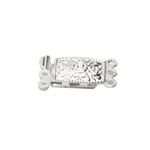 Rectangular Box Clasp with Antique Pattern, 3 Eyelets / 14 x 8mm