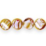Ümarad lapikud klaashelmed segatud värvitoonidega 14x7mm