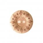 Naturaalne, lakitud, mustriline puitnööp, kahe auguga, läbimõõduga 25mm/38L