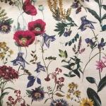 Põllulillede mustriga, dekoratiivne, 100% linane kangas, 150cm, 4C33