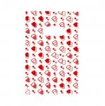 Valge, punase/roosamustriline plastikkott/ Red Pattern White Plastic Bag / 19,5 x 12cm