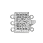 Rectangular Box Clasp and Floral Pattern, 3 Eyelets / 10 x 8mm