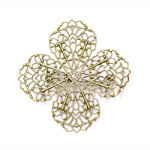 Pitsiline lillekujuline pross / Lacey 4-Leaf Pin-On Brooch / 44mm