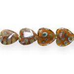 Kirjud mustrilised südamekujulised millefiori pärlid 16x16x6mm