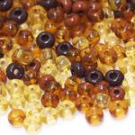 Pärlisegu Kollakatest, pruunikatest klaashelmestest 6-7mm, 100/50g pakk