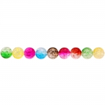 Värvisegu, kirjud, mõralised, läbipaistvad, ümarad akrüülhelmed, 10mm