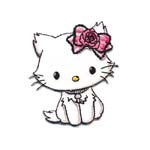 Embroidered Iron-On Patch; Hello Kitty with Pink Rose / 6,5 x 6cm