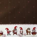 Jõuluteemaline, päkapikkudega laudlinakangas 140cm, 05211-06
