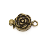 Round Box Clasp with Rose Pattern, 14 x 10mm