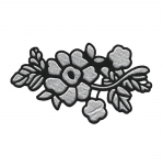Embroidered Iron-On Patch; Soft Flower with Leaves / 12,5 x 7cm