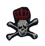Triigitav Aplikatsioon; Kroonitud pealuu / Embroidered Iron-On Patch; Skull & Bones with Crown / 7 x 7cm
