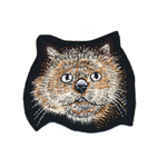 Embroidered Iron-On Patch; Long Haired Cat / 9 x 8cm