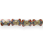 Värvilised, maalitud ovaalsed kondikujulised lapikud cloisonne metallhelmed 11x12x7mm