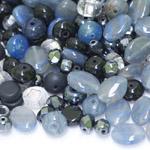 Pärlisegu hallikas- sinakates toonides erikujulistest pärlitest 6-14mm, 100/50g pakk