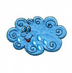 Embroidered Iron-On Patch; Smiling Cloud / 8,5 x 5,5cm