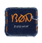Triigitav Aplikatsioon teksariidest `BON, jeans style`/ Embroidered Iron-On Patch 7x6cm
