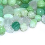 Pärlisegu helerohekates toonides, erikujulistest pärlitest 5-20mm, 100/50g pakk