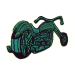 Embroidered Iron-On Patch; Green Motorcycle / 7,5 x 4,5cm
