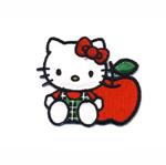 Triigitav Aplikatsioon; Hello Kitty punase õunaga / Embroidered Iron-On Patch; Hello Kitty with Apple / 6,5 x 5,5cm