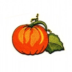 Embroidered Iron-On Patch; Pumpkin / 8 x 6cm