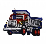 Embroidered Iron-On Patch; Dump Truck / 7 x 4,5cm