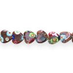 Kirjud mustrilised südamekujulised millefiori pärlid 12x12x3,5mm
