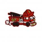 Triigitav Aplikatsioon; Lõbus tuletõrjeauto / Embroidered Iron-On Patch;/ 8x4,5cm