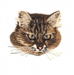 Triigitav Aplikatsioon; Triibulise kassi portree Embroidered Iron-On Patch; Cat with Bowtie / 6x5,5cm