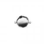 Medaljonikujuline, mustriliste kaunistusäärtega riputis, aasadega kahelt poolt / Circular Pendant Base / 12 x 2mm