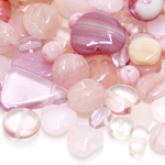 Pärlisegu heleroosakatest erikujulistest pärlitest 6-20mm, 100/50g pakk