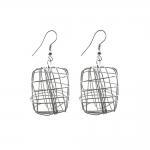 Kõrvarõnga toorikud kandilise põimikdetailiga; / Square Cage Earring; / 25mm