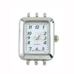 Käekella toorik hõbetatud ristkülikukujuline / Rectangular 3-Cord Watch Face / 28 x 22mm