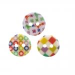 Erinevate geomeetriliste mustritega plastiknööbid, kahe auguga ø15 mm, suurus: 24L