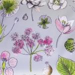 Suuremõõtmeliste lilledega puuvillane kangas, 138083, 140cm