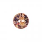 Naturaalne kookosnööp trükitud lillemustriga, kahe auguga 20mm, 32L