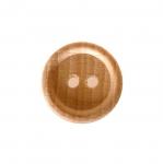 Naturaalne, lakitud puitnööp, kahe auguga, läbimõõduga 15mm/24L