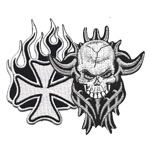 Skull, Tattoo, Crowns & Cross Patches