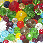 Round Faceted Glass Beads
