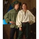 Naiste, meeste ja teismeliste kostüümid, särgid, suurused: A (XS,S,M,L,XL), Simplicity Pattern #3519