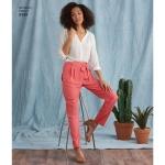 Naiste püksid pikkuse ja laiuse variatsioonide ning lipsuvööga, Simplicity Pattern # 8389