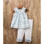 Mudilaste kleit, topp, trikoocaprid ja topitud jänkuga, suurused: A (1/2-1-2-3-4), Simplicity Pattern #8347