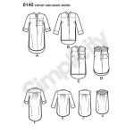 Pluss-suurustele särk-kleit pikkuse ja käise variatsioonidega, Simplicity Pattern #8140
