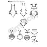 Väikelaste vintage kombinesoon Set, suurused: A (XXS-XS-S-M-L), Simplicity Pattern #1600