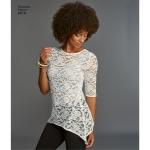 Naiste trikoo-topid pitsivariatsioonidega, suurused: A (XXS-XS-S-M-L-XL-XXL), Simplicity Pattern #8016
