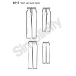 Tüdrukute ja preilide Slim Fit salongi`i püksid, suurused: A (S - L / XS - XL), Simplicity Pattern # 8518
