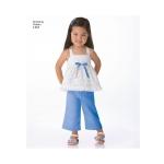Väikelaste kleidid, Topp, kärbitud püksid ja shortsid, suurused: A (1/2-1-2-3-4), Simplicity Pattern #1451